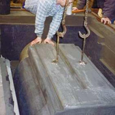 Core is lowered into the mould